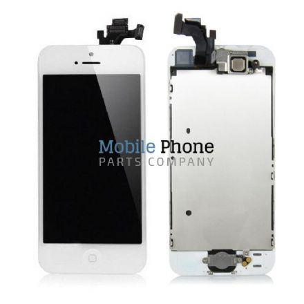 Apple iPhone 5 LCD + Digitiser White Complete With Parts - Front Camera / Earpiece / Home Button